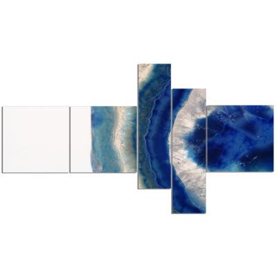 Designart Macro Of Blue Agate Stone Abstract Canvas Wall Art Print - 5 Panels