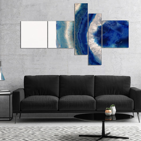Designart Macro Of Blue Agate Stone Abstract Canvas Wall Art Print - 5 Panels