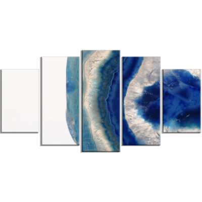 Design Art Macro Of Blue Agate Stone ContemporaryCanvas Wall Art Print - 5 Panels