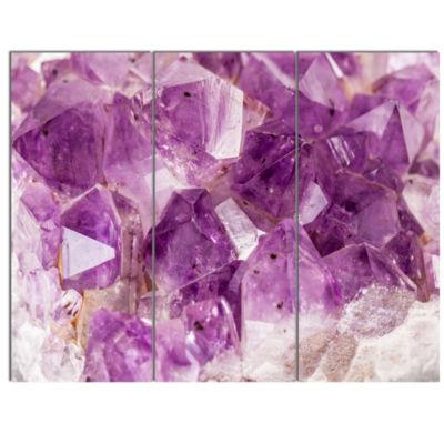 Designart Purple Amethyst Macro Abstract Canvas Wall Art Print - 3 Panels