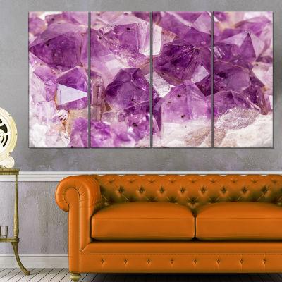 Designart Purple Amethyst Macro Abstract Canvas Wall Art Print - 4 Panels