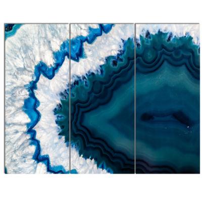 Designart Blue Brazilian Geode Abstract Canvas Wall Art Print - 3 Panels