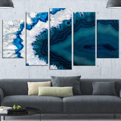 Designart Blue Brazilian Geode Contemporary CanvasWall Art Print - 5 Panels