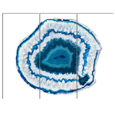 Designart Blue Agate Crystal Abstract Canvas WallArt Print - 3 Panels