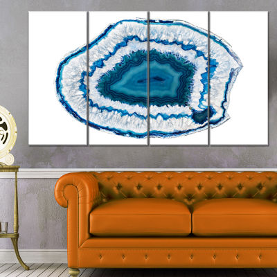 Designart Blue Agate Crystal Abstract Canvas Wall Art Print - 4 Panels