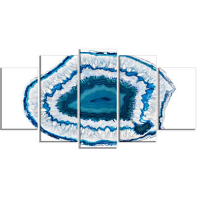Designart Blue Agate Crystal Contemporary CanvasWall Art Print - 5 Panels