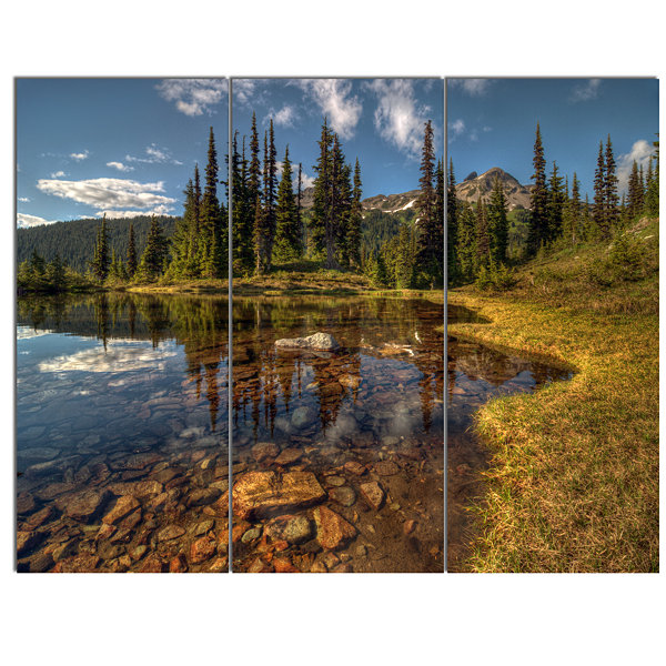 Design Art Bright Clear Day And Clear Lake Landscape Canvas Art Print - 3 Panels