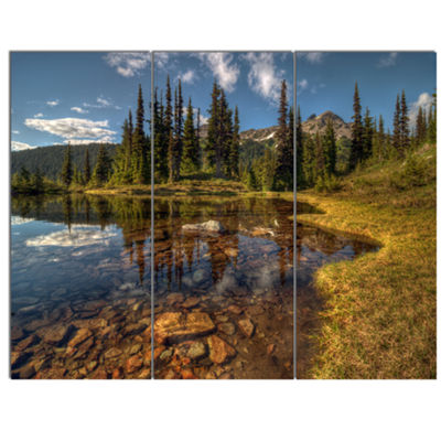 Designart Bright Clear Day And Clear Lake Landscape Canvas Art Print - 3 Panels