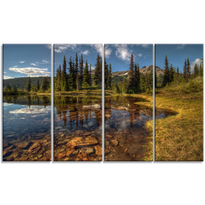 Design Art Bright Clear Day And Clear Lake Landscape Canvas Art Print - 4 Panels