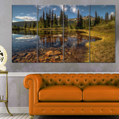 Designart Bright Clear Day And Clear Lake Landscape Canvas Art Print - 4 Panels