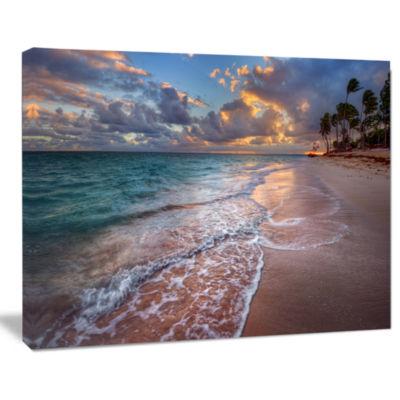 Design art Palm Trees On Clear Sandy Beach Seashore Canvas Art Print