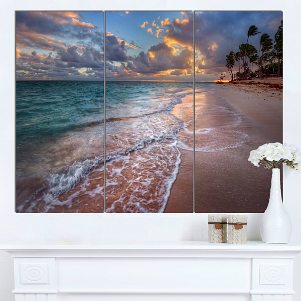 Designart Palm Trees On Clear Sandy Beach SeashoreCanvas Art Print - 3 Panels