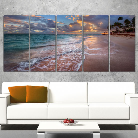 Designart Palm Trees On Clear Sandy Beach SeashoreCanvas Art Print - 5 Panels