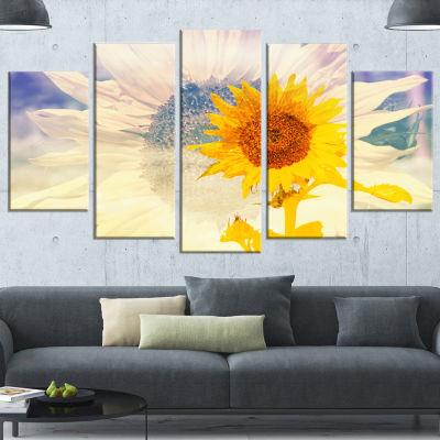 Designart Double Exposure Yellow Sunflowers (373)Canvas Art Print - 5 Panels