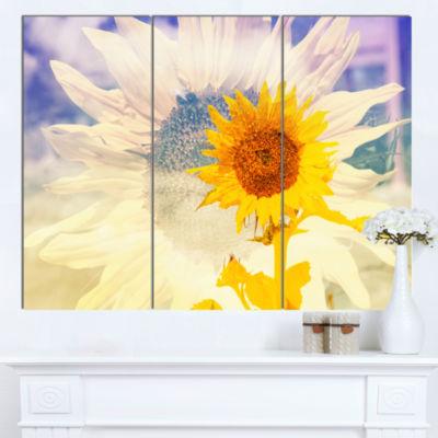 Designart Double Exposure Yellow Sunflowers CanvasArt Print - 3 Panels