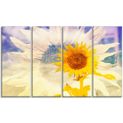 Designart Double Exposure Yellow Sunflowers CanvasArt Print - 4 Panels