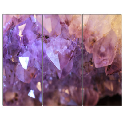 Designart Purple White Natural Amethyst Geode Abstract Canvas Artwork - 3 Panels