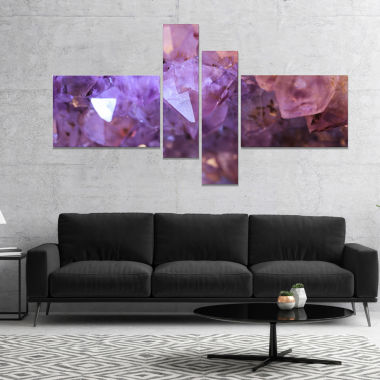 Design Art Purple White Natural Amethyst Geode Abstract Canvas Artwork - 4 Panels