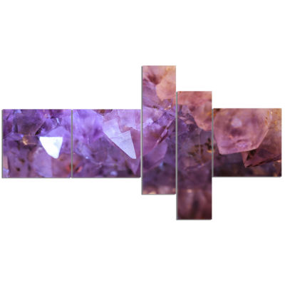 Designart Purple White Natural Amethyst Geode Abstract Canvas Art work - 5 Panels