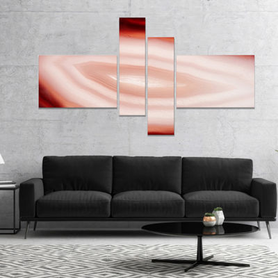 Designart Agate With Chalcedony Geological CrystalAbstract Canvas Art Work - 4 Panels