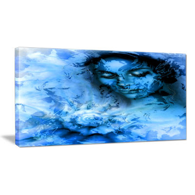 Design Art Young Woman With Closed Eyes Portrait Canvas Art Print