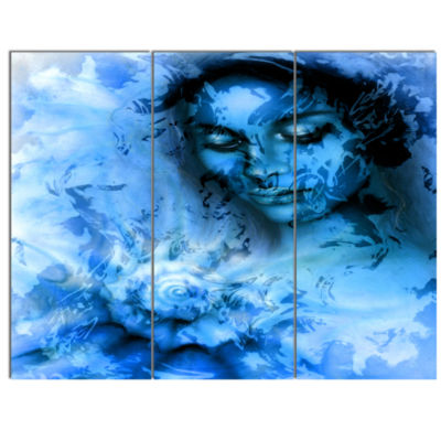 Design Art Young Woman With Closed Eyes Portrait Canvas Art Print - 3 Panels
