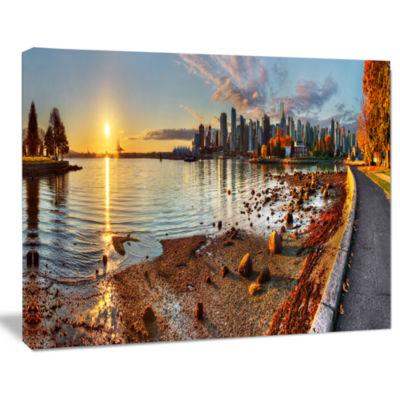 Designart Vancouver Downtown Panorama Landscape Canvas Art Print