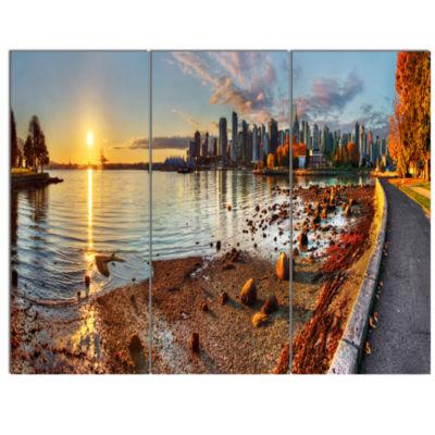 Design Art Vancouver Downtown Panorama Landscape Canvas Art Print - 3 Panels