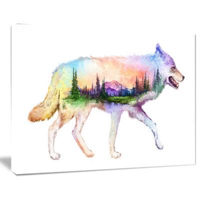 Designart Wolf Double Exposure Illustration AnimalCanvas Art Print