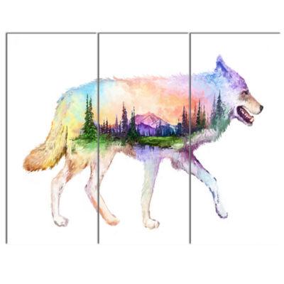 Designart Wolf Double Exposure Illustration AnimalCanvas Art Print - 3 Panels