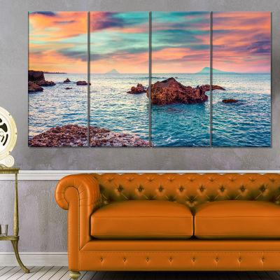 Designart Sunrise On The Mediterranean Sea Canvas Art Print - 4 Panels