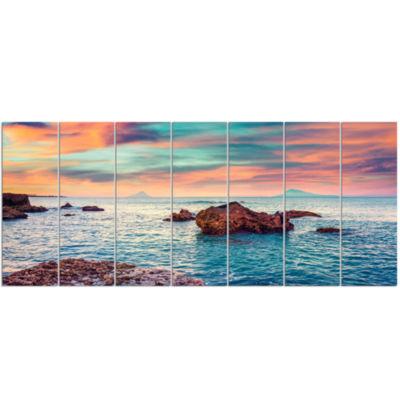Designart Sunrise On The Mediterranean Sea CanvasArt Print - 7 Panels