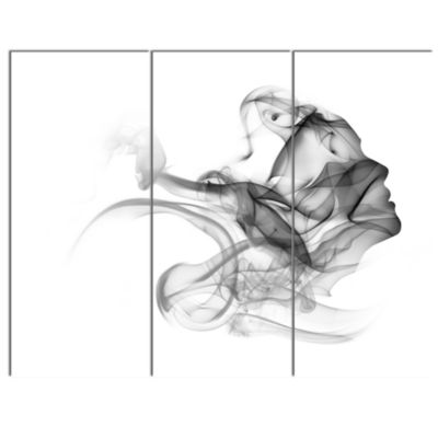 Designart Woman And Smoke Double Exposure PortraitCanvas Art Print - 3 Panels