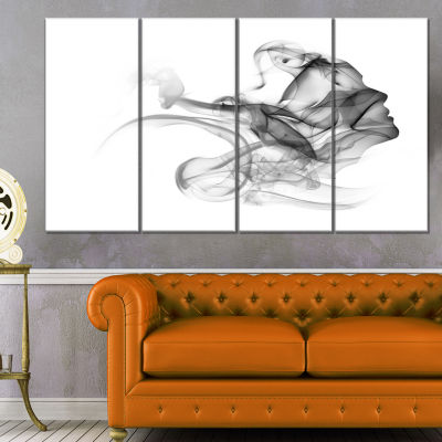 Design Art Woman And Smoke Double Exposure PortraitCanvas Art Print - 4 Panels