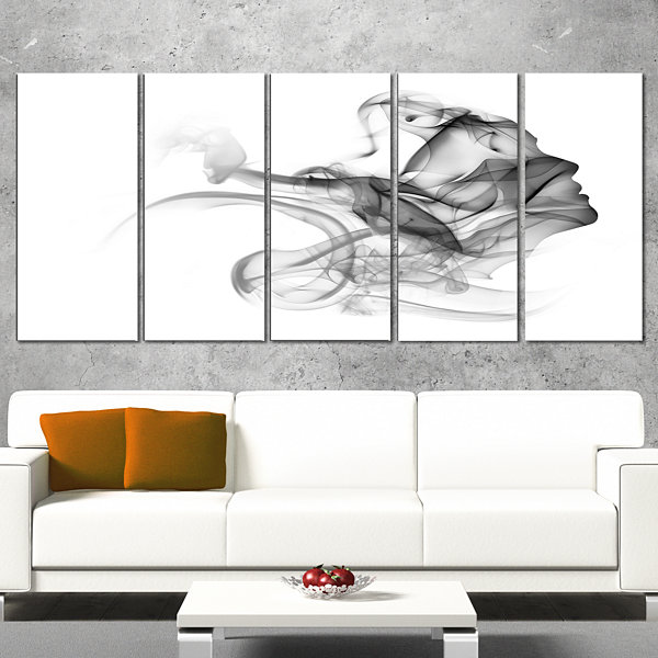 Designart Woman And Smoke Double Exposure PortraitCanvas Art Print - 5 Panels