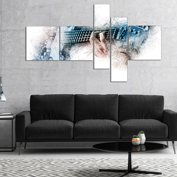 Designart Man Playing A Guitar Watercolor AbstractCanvas Art Print - 5 Panels