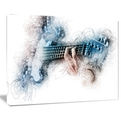 Designart Man Playing A Guitar Watercolor Contemporary Canvas Art Print