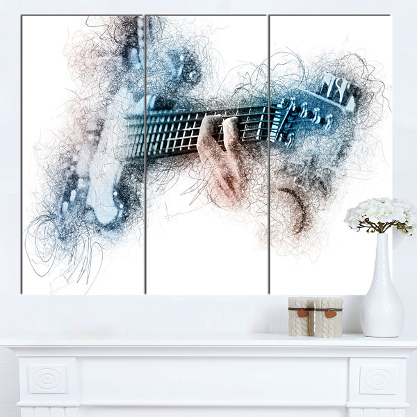 Designart Man Playing A Guitar Watercolor Contemporary Canvas Art Print - 3 Panels