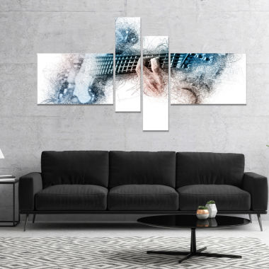 Design Art Man Playing A Guitar Watercolor Contemporary Canvas Art Print - 4 Panelsq