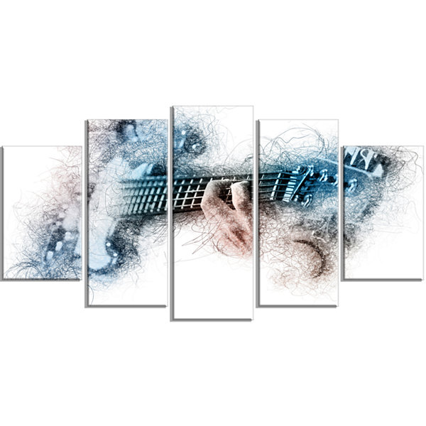 Designart Man Playing A Guitar Watercolor Contemporary Canvas Art Print - 5 Panels