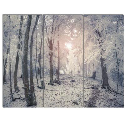 Designart Winter Sunrise In Mountain Forest Landscape Canvas Art Print - 3 Panels