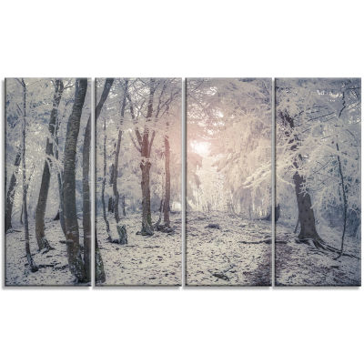 Designart Winter Sunrise In Mountain Forest Landscape Canvas Art Print - 4 Panels