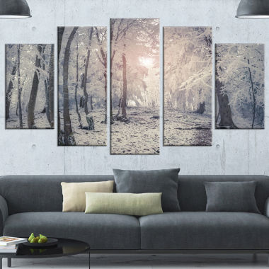 Design Art Winter Sunrise In Mountain Forest Landscape Canvas Art Print - 5 Panels