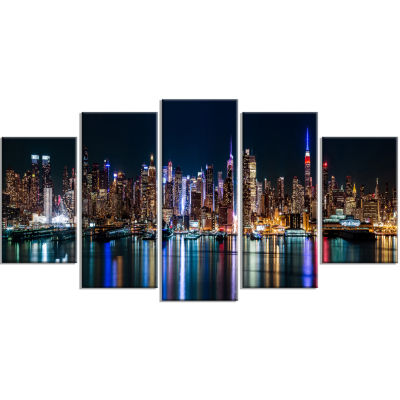 Designart New York Midtown Night Panorama Blue Canvas Art Print - 5 Panels