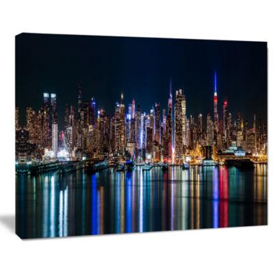 Designart New York Midtown Night Panorama CanvasArt Print