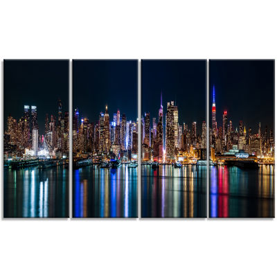 Designart New York Midtown Night Panorama CanvasArt Print - 4 Panels