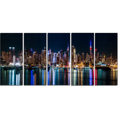 Designart New York Midtown Night Panorama CanvasArt Print - 5 Panels