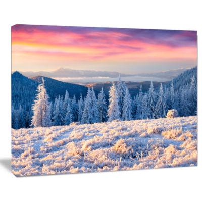 Designart Amazing Winter Sunrise In Mountains Landscape Canvas Art Print