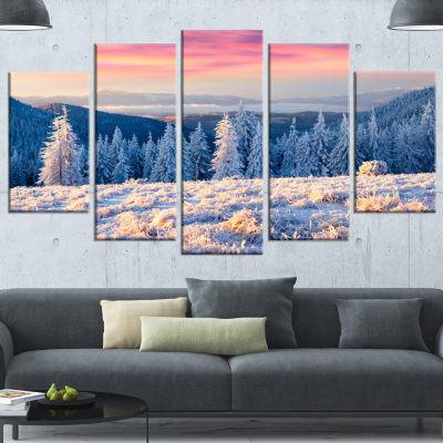 Designart Amazing Winter Sunrise In Mountains White Landscape Canvas Art Print - 5 Panels