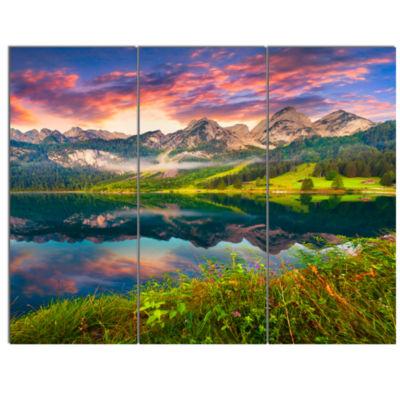 Designart Sunrise Over Vorderer Gosausee Lake Landscape Canvas Art Print - 3 Panels